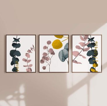 Botanical Eucalyptus Abstract Wall Art in White - Set of three prints