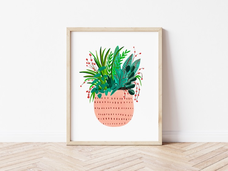 Peach Potted Plant